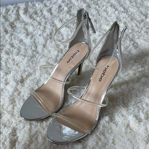 BEBE silver and clear evening sandals